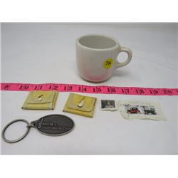 TWO BUTTON CASES, SHAVING MUG, STAMPS,  KEY CHAIN