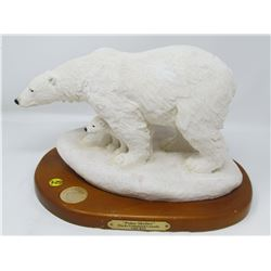 *DUCKS UNLIMITED* WHITE POLAR BEAR (ON WOODEN BASE) *9X13 INCHES*