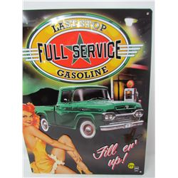 "EMBOSSED TIN SIGN (FILLER UP) *17"" X 12""* (REPRO)"