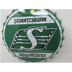 "TIN BOTTLE CAP SIGN (SASK. ROUGHRIDERS) *16""*"