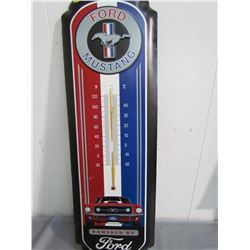 TIN THERMOMETER (FORD MUSTANG) *27 X 9 INCHES* (REPRO)