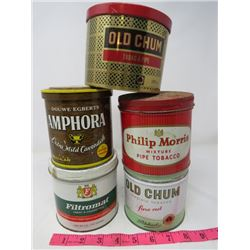 LOT OF 5 TOBACCO TINS (OLD CHUM X 2, AMPHORA, PHILIP MORRIS, FILTROMAT)