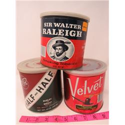 LOT OF 3 TOBACCO TINS (SIR WALTER RALEIGH, HALF-HALF, VELVET)