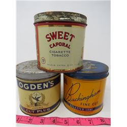 LOT OF 3 TOBACCO TINS (SWEET CAPORAL, ODGEN'S, BUCKINGHAM)