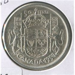 1958 CNDN 50 CENT PC (SILVER)