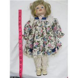 DOLL (BISQUE HEAD AND HANDS, CLOTH BODY) *DRESS NOT ORIGINAL*
