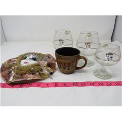 LOT OF 3 WINE GLASSES, MUG AND DECORATIVE WALL MASK (CANADIAN OLYMPICS WINE GLASSES)