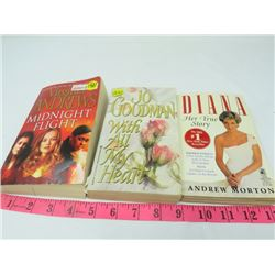 LOT OF 3 BOOKS (WITH ALL MY HEART BY JO GOODMAN, MIDNIGHT FLIGHT BY VIRGINIA ANDREWS, DIANA HER TRUE