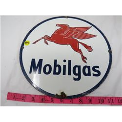 GAS PUMP PLATE (MOBIL) *METAL* (12 IN ROUND) (REPRO)