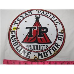 GAS PUMP PLATE (TEXAS PACFIC) *METAL* (12 IN ROUND) (REPRO)