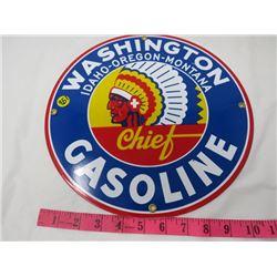 "GAS PUMP PLATE (WASHINGTON CHIEF GASOLINE) *METAL* (12"" ROUND) (REPRO)"