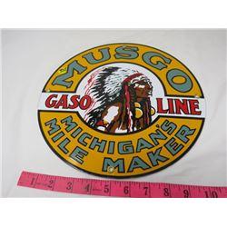 "GAS PUMP PLATE (MUSGO MICHIGAN) *METAL* (12"" ROUND) (REPRO)"