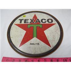 "GAS PUMP PLATE (TEXACO) *METAL* (12"" ROUND) (REPRO)"