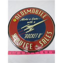 """AUTO DEALER ADVERTISING PLATE (OLDSMOBILE SALES & SERVICE) *METAL* (12"""" ROUND) (REPRO)"""