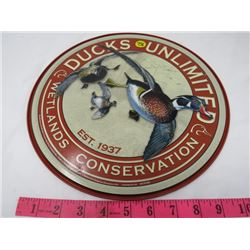 """ADVERTISING PLATE (DUCKS UNLIMITED) *METAL* (12"""" ROUND) (REPRO)"""