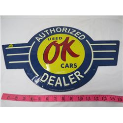 AUTO ADVERTISING SIGN (USED OK CARS) METAL  (REPRO)