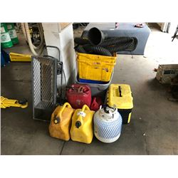 LOT OF SHOP EQUIPMENT INC. JERRY CANS, BINS, EXHAUST HOSES AND MORE