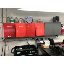 3 WALL MOUNTED TOOL CABINETS WITH CONTENTS AND WAGNER LIGHTING FUSES PARTS CABINET WITH CONTENTS