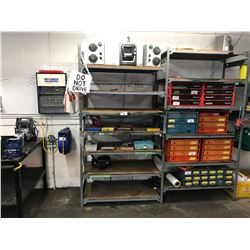 3 BAYS OF LIGHT DUTY METAL PARTS RACKING WITH REMAINING CONTENTS