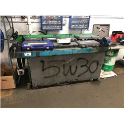 LARGE OIL CONTAINER/WORK BENCH WITH DIGITAL DISPENSER AND HOSE REEL WITH 2 BENCH VISES