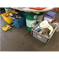 5 BINS OF ASSORTED TOOLS, PARTS AND MISC.