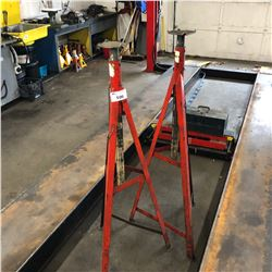 PAIR OF LARGE RED METAL ADJUSTABLE STANDS