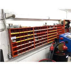 4 RED METAL WALL MOUNTED PARTS BINS WITH HARDWARE CONTENTS AND WIRE RACK WITH CONTENTS
