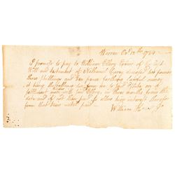 1784 Signer of the Declaration of Independence WILLIAM ELLERY Promissary Note