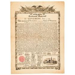 DECLARATION OF INDEPENDENCE 1876 Centennial Printed Advertising Broadside