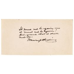 1921 Exceptional WARREN G. HARDING Autograph Quote Signed as President