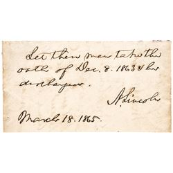 March 18, 1865 ABRAHAM LINCOLN Autograph Note Signed, 28 Days to Assassination!