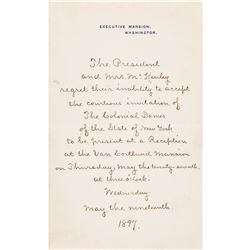 1897 President (William McKinley) Declines The Colonial Dames of State of NY