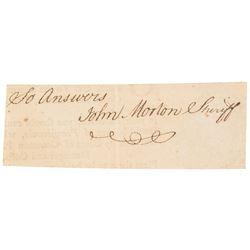 Declaration Signer JOHN MORTON + Lexington Minuteman DANIEL HOPKINS 2-Signatures