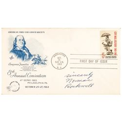 1963 NORMAN ROCKWELL Signed FIRST DAY OF ISSUE Stamp Designed by Norman Rockwell