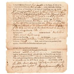 ROGER SHERMAN Together with JONATHAN TRUMBULL both of Conn. Two Signed Documents