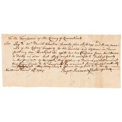 ROGER SHERMAN, CT. Declaration of Independence Signer, 1765 Autograph Document