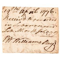 19th April 1776 WILLIAM WILLIAMS Signed Receipt Conn Dec. of Independence Signer