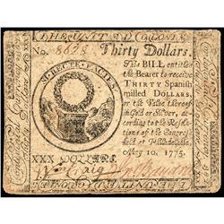 Patriot JOHN BAYARD Signed Revolutionary War May 1775 Continental Congress Note