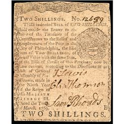 March 10, 1769 PA. 2s Note Signed CHARLES THOMSON Continental Congress Secretary