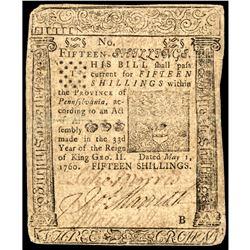 BENJAMIN FRANKLIN Printed Colonial Currency May 1, 1760 Pennsylvania 15s Note