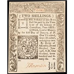 Colonial Currency, Connecticut June 19, 1776 2 Shillings Gem Crisp Uncirculated