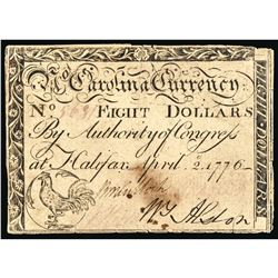 Colonial Currency, April 2, 1776 Revolutionary War North Carolina $8 Note