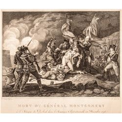 1795 Engraving Death of General Montgomery at the Attack on Quebec December 1775