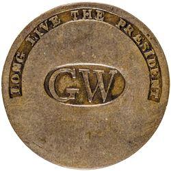 George Washington Inaugural Button, GW + LONG LIVE THE PRESIDENT, Albert WI-11A