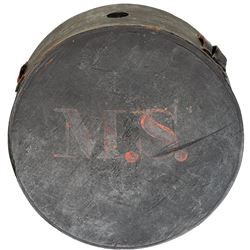 c. 1820 Early Militia Wooden Canteen, Initials of Owner with Painted M.S.