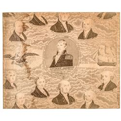 1829 Andrew Jackson / Presidents Historical Printed Cotton Textile, Threads #70