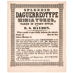 c. 1850 Great Daguerreotypes Advertising Broadside by E.S. Hayden, Waterbury, CT