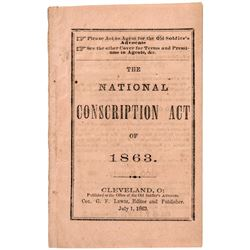 The National Conscription Act of 1863. - Rare Quality Original Civil War Booklet