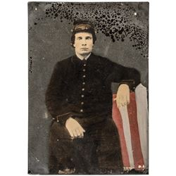 Civil War Identified Union Soldier Whole Plate Tintype Colorized Photo With Flag
