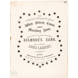 1863 Original Civil War Sheet Music: When Johnny Comes Marching Home by Lambert